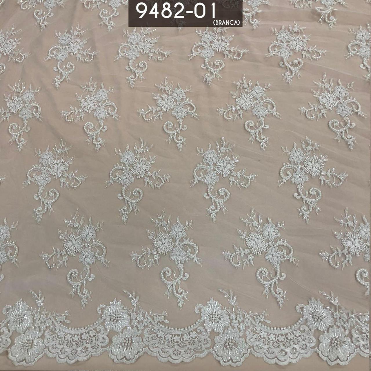 Tecido Renda Tule Bordado Com Pedraria Branco