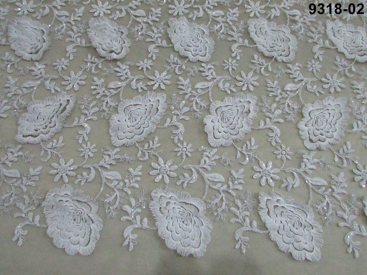 Tecido Renda Tule Bordado Off White