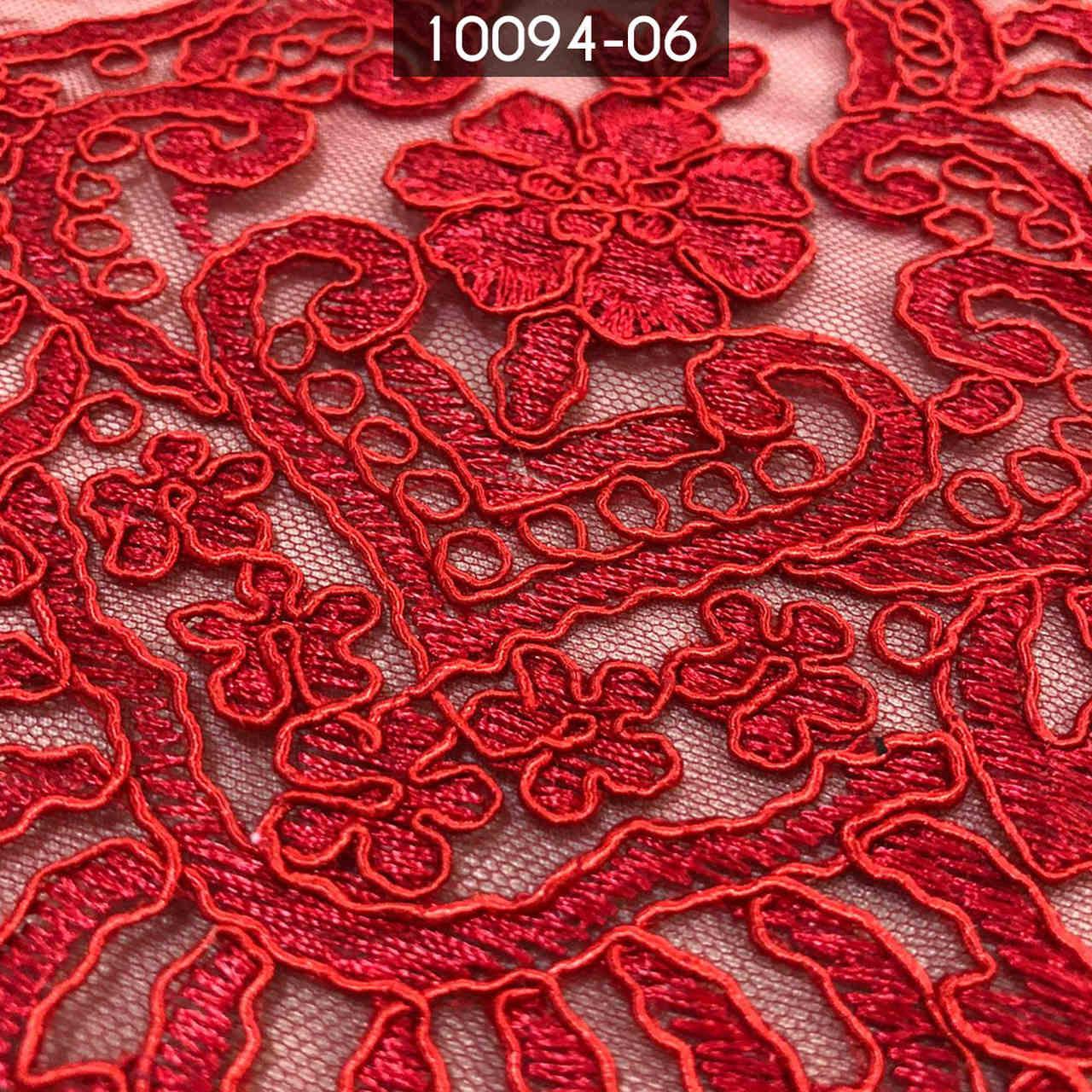 Tecido Renda Tule Bordado Vermelho