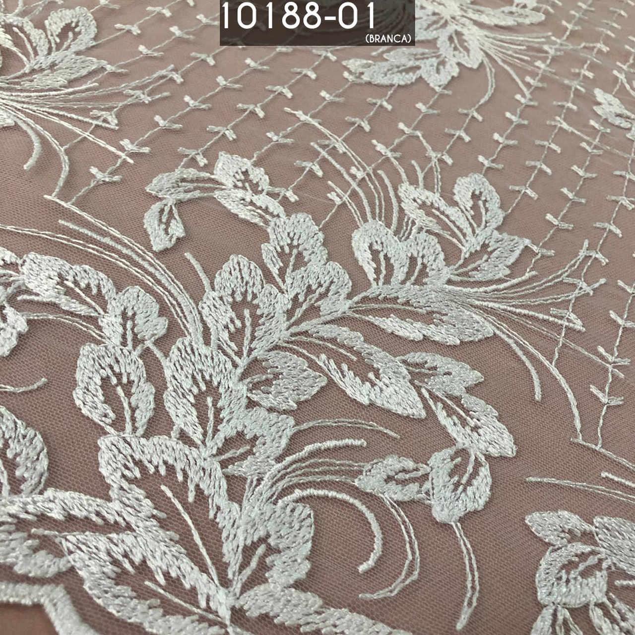 Tecido Renda Tule Floral Bordado Em Linhas Branco