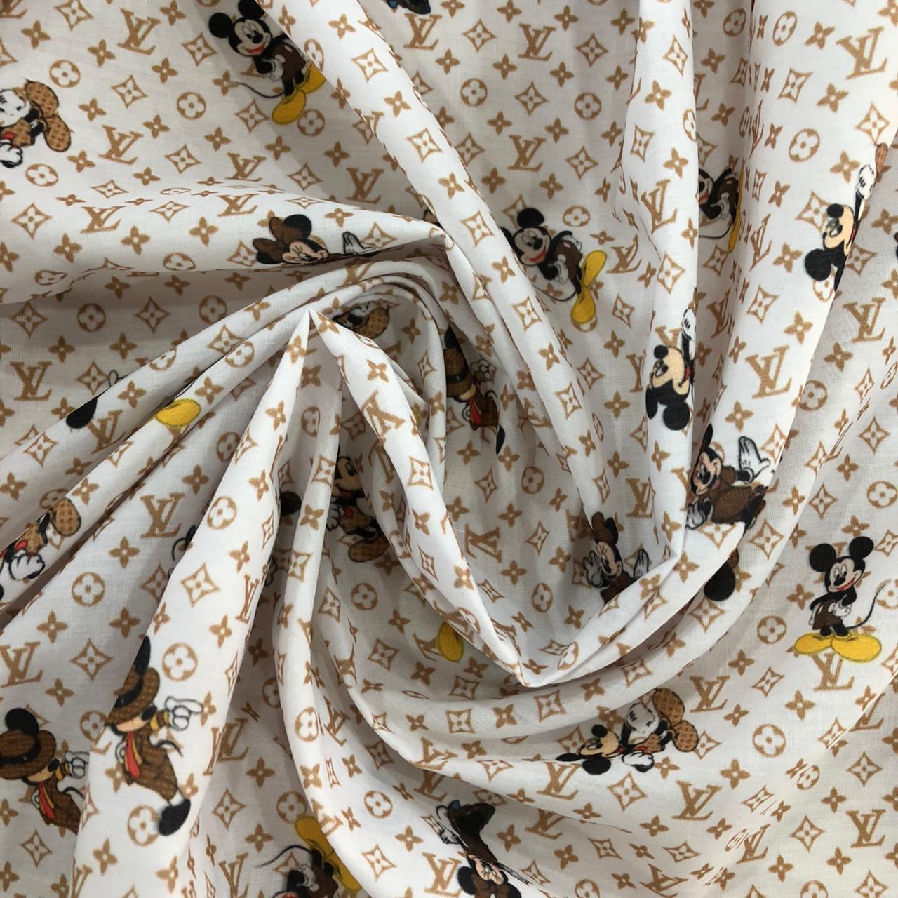 Tecido Tricoline Mista Estampada 65%Poliéster 35%Algodão Mickey Louis Vuitton