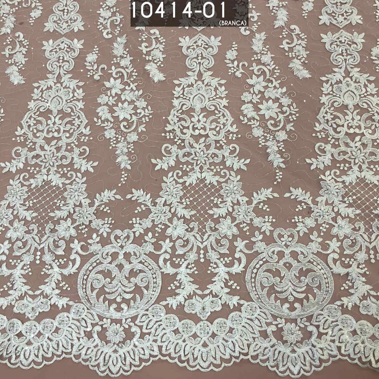 Tecido Tule Renda Bordado Em Pedrarias Branco