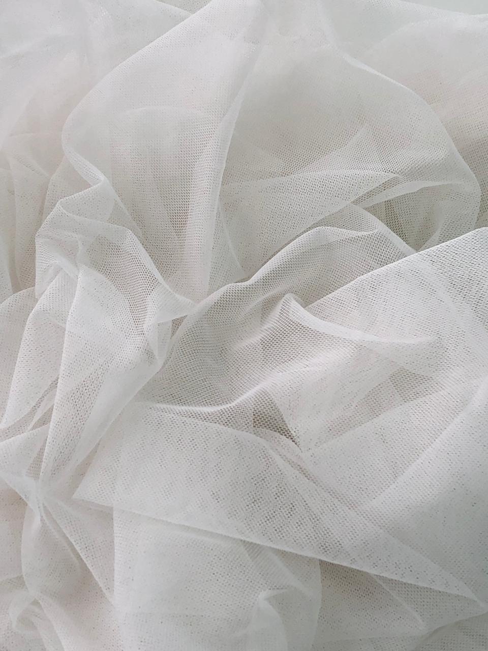 Tecido Tulle Liso Off White