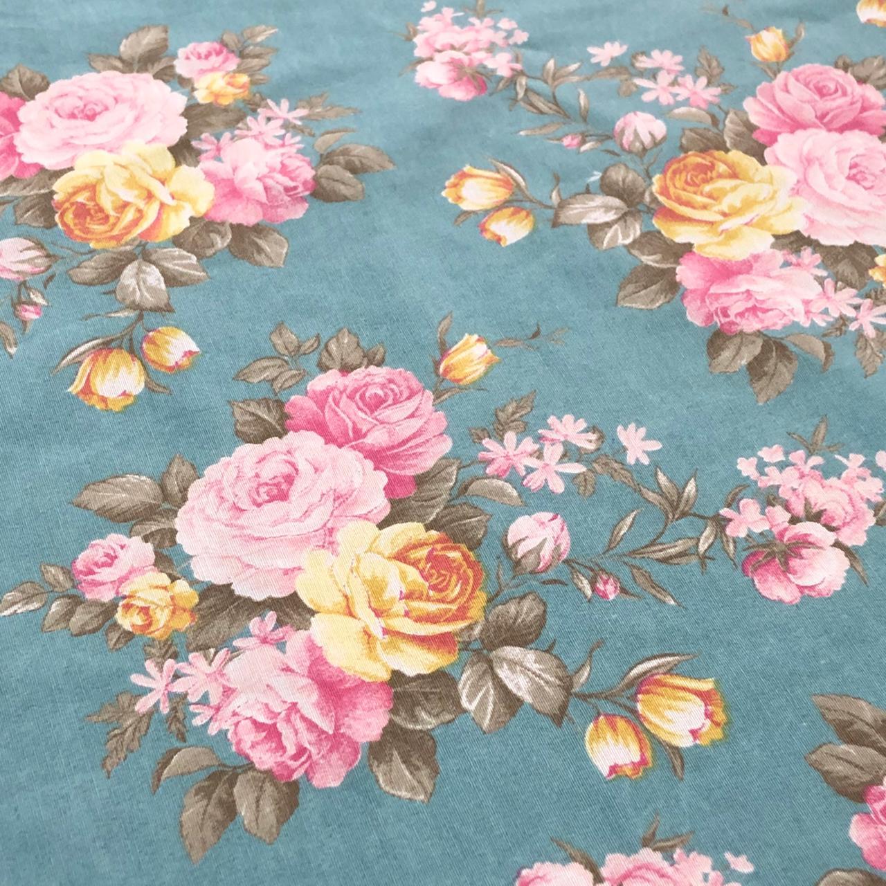 Tricoline Estampada Flores