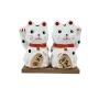 Maneki Neko Gato da Fortuna e da Sorte Casal Médio 8cm