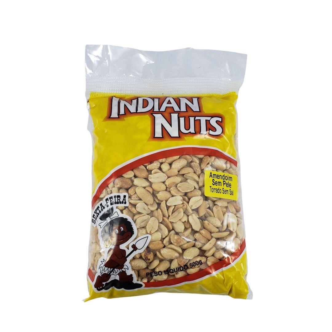 Amendoim Torrado Sem Pele Sem Sal Indian Nuts 500g