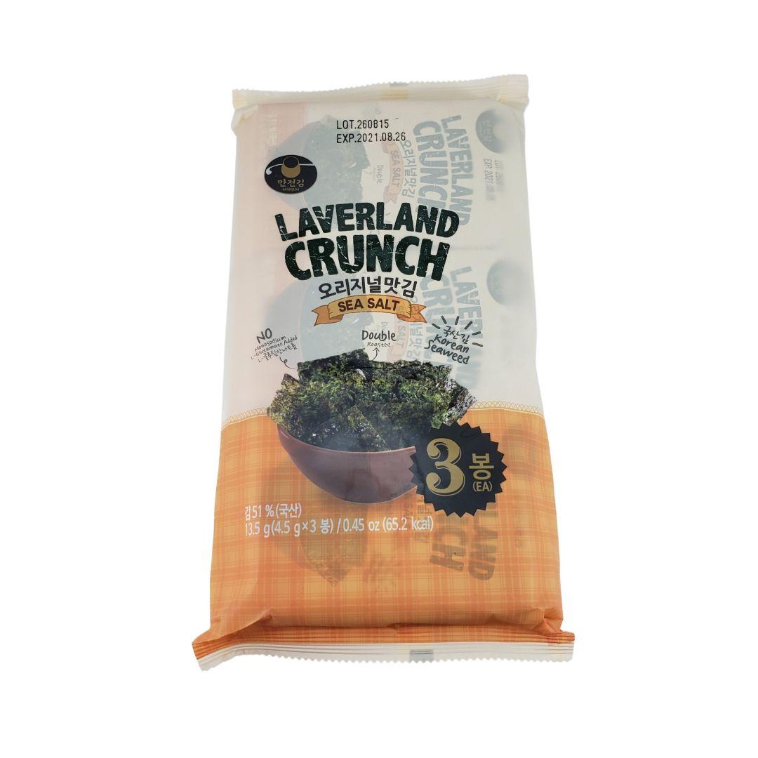 Aperitivo de Alga Marinha Nori Snack sabor Sal Laverland Crunch 3P 13,5g
