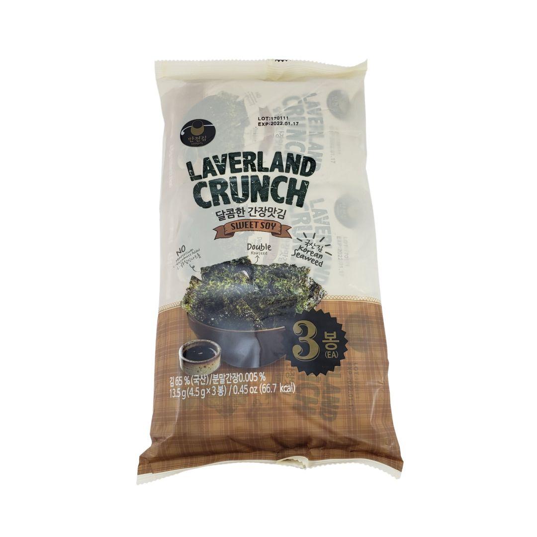 Aperitivo de Alga Marinha Nori Snack sabor Shoyu Laverland Crunch 3P 13,5g