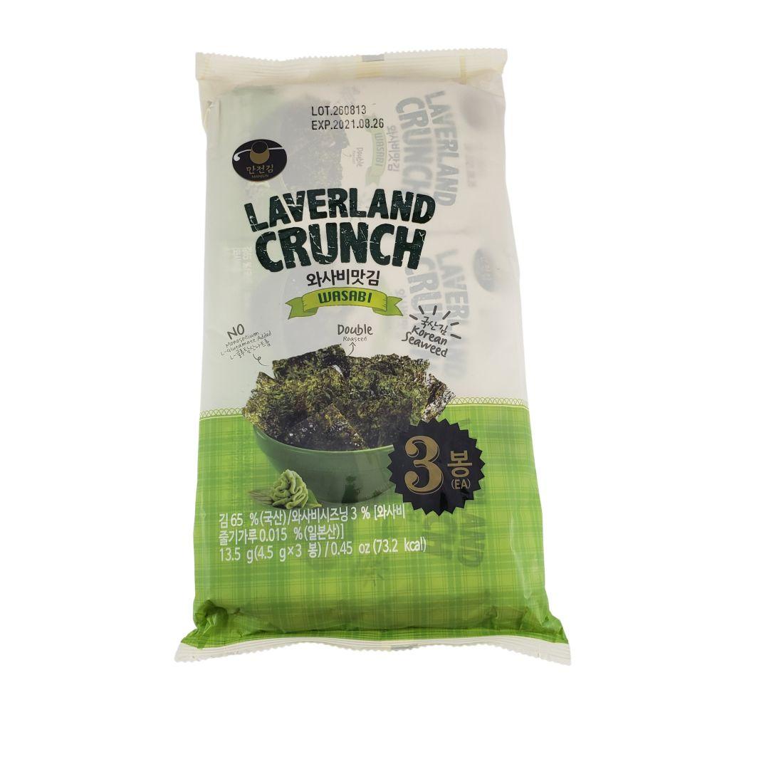 Aperitivo de Alga Marinha Nori Snack sabor Wasabi Laverland Crunch 3P 13,5g