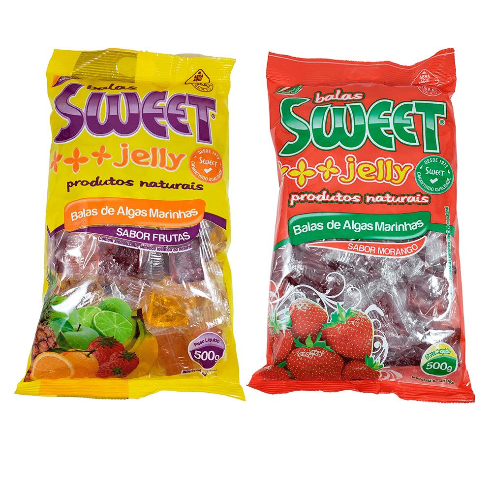 Bala de Alga Marinha Sweet Jelly Kit Morango e Frutas