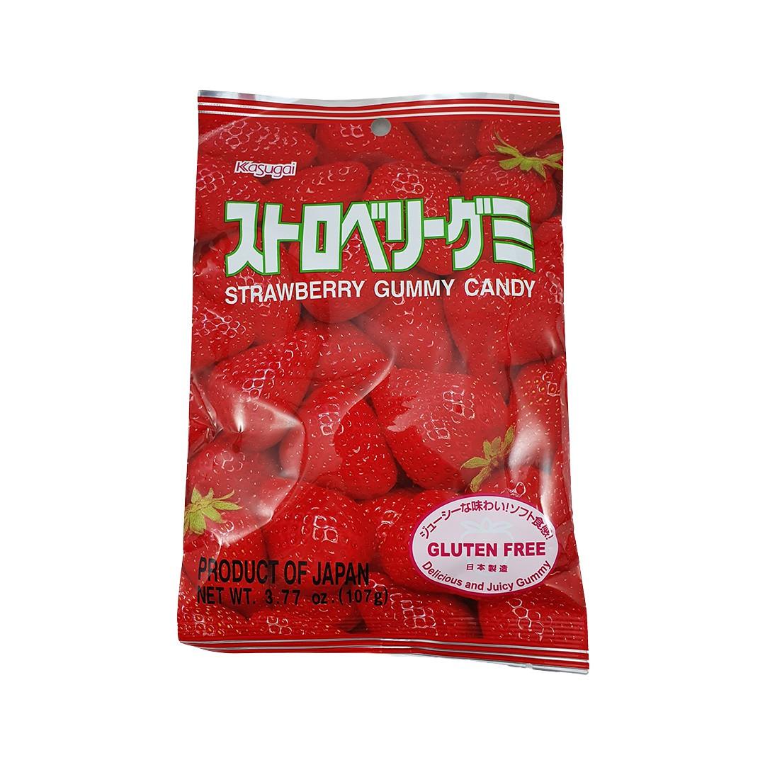 Bala Gelatinosa Japonesa sabor Morango Kasugai Gummy Candy 107g
