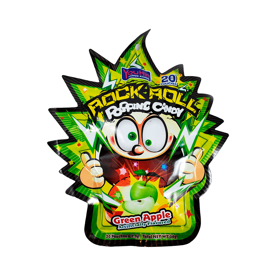 Bala Explosiva Rock Roll Popping Candy Maçã Verde 20p