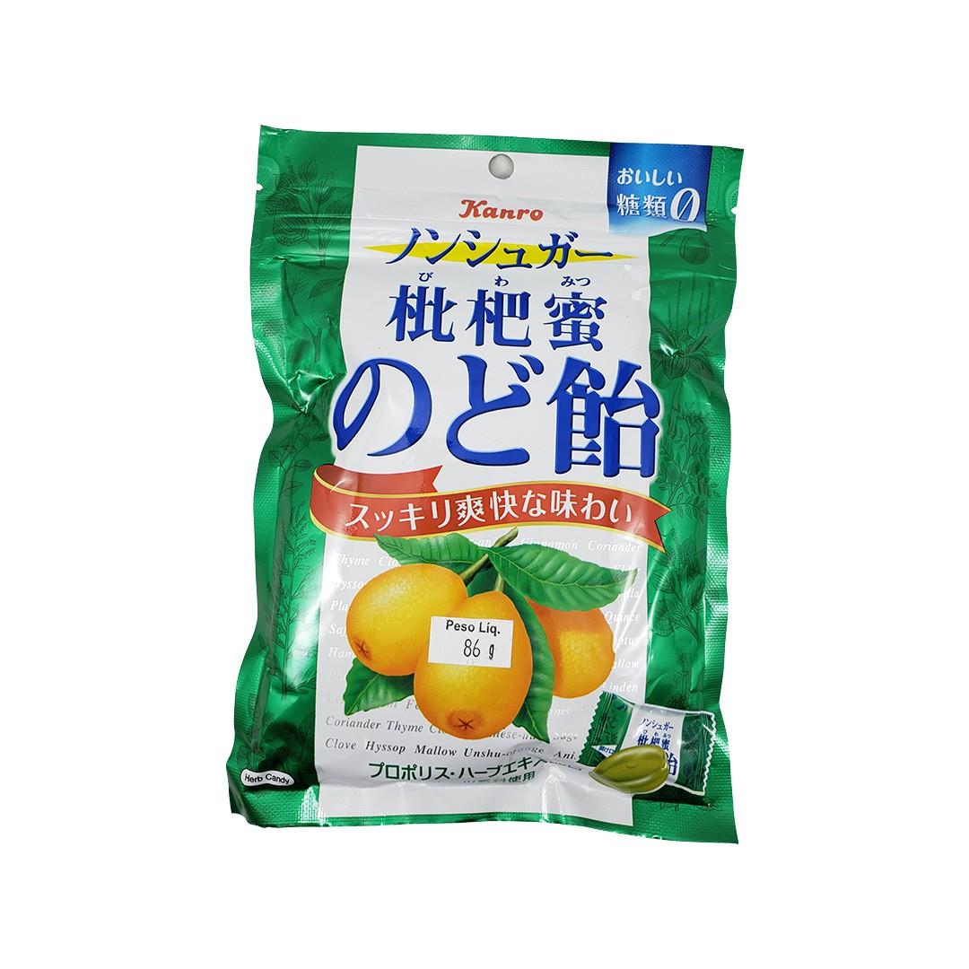 Bala Japonesa de Néspera Sem Açúcar Biwamitsu Nodo Ame Kanro 86g