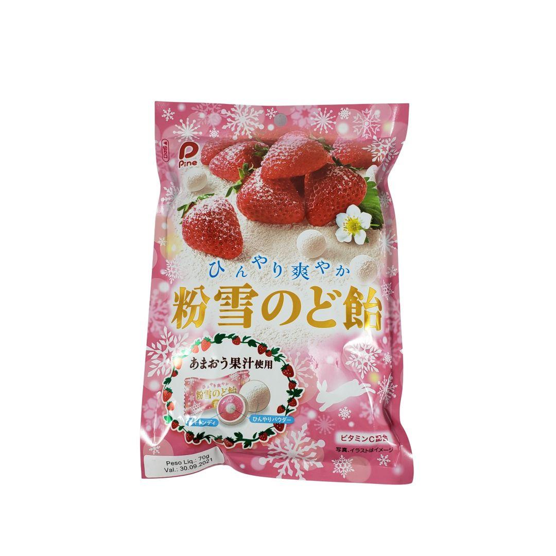 Bala sabor Morango e Xilitol Japonesa Hinyari Sawayaka Konayuki Nodo Ame 70g