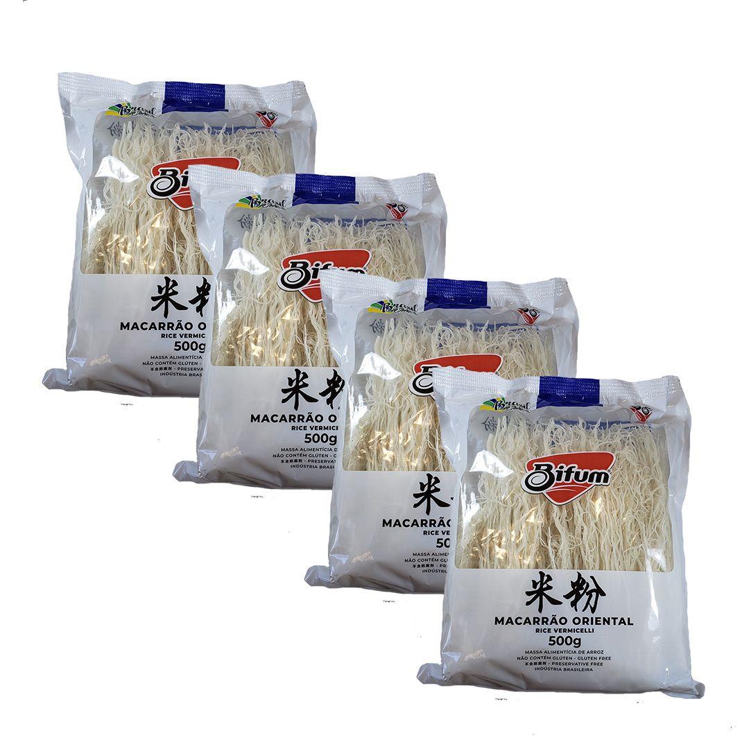 Bifum Macarrao de Arroz Rice Vermicelli 500g Kit 4 unidades