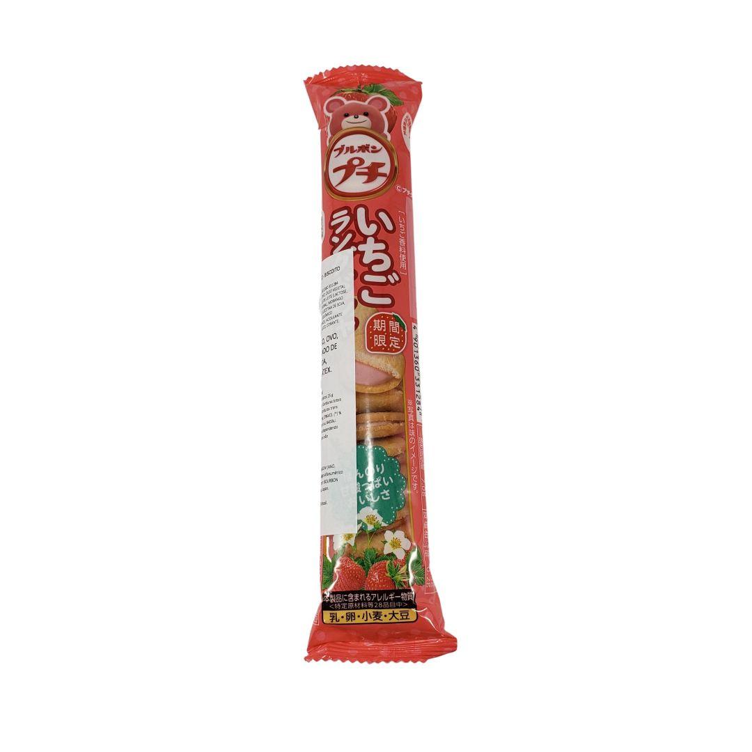 Biscoito com Recheio sabor de Morango Petit Strawberry Langue de Chat Bourbon 42g