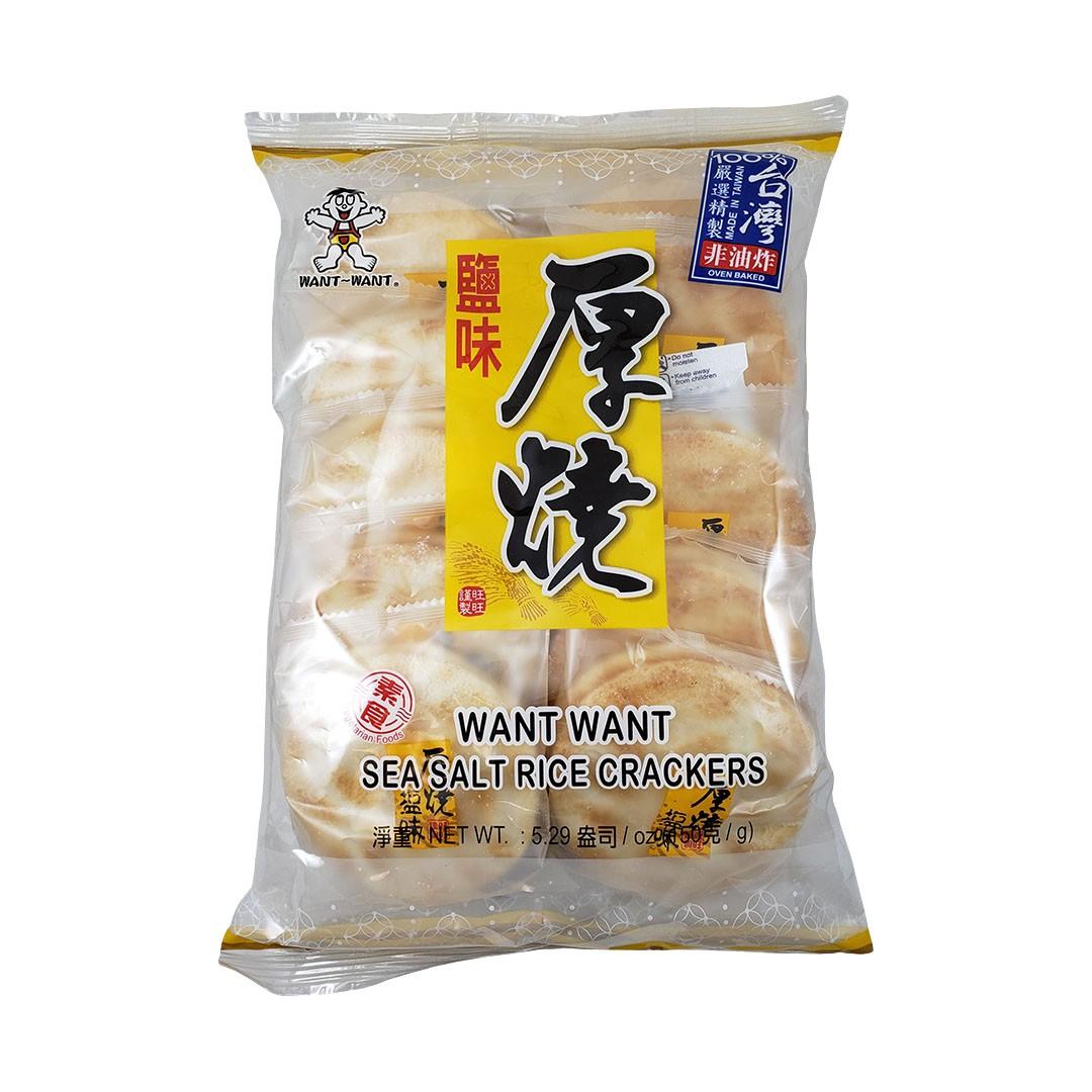 Biscoito de Arroz com Sal Marinho Want Want Sea Salt Rice Crackers 150g