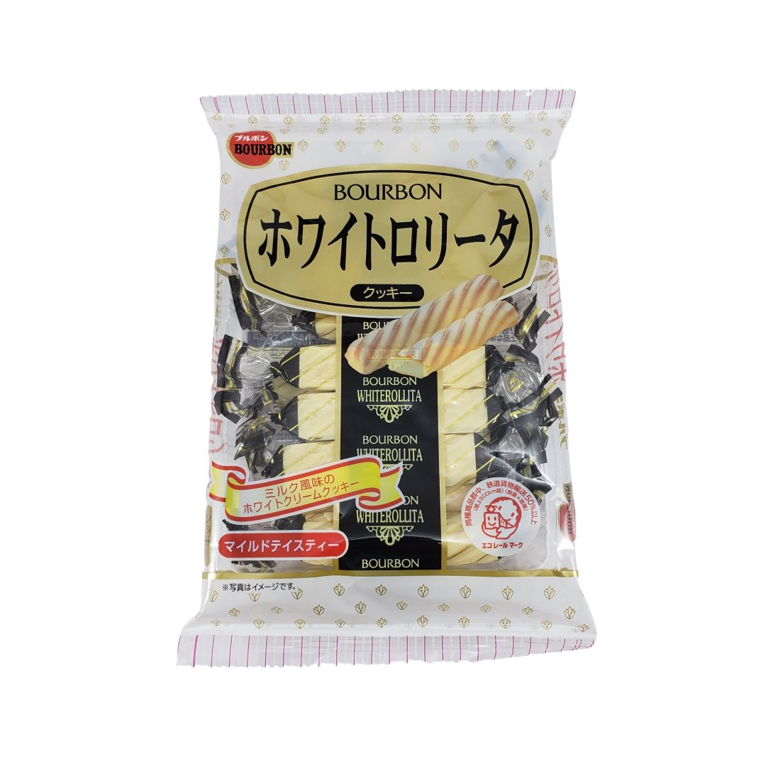 Biscoito Folhado de Chocolate Branco Japonês Bourbon White Rollita Cookie 98g