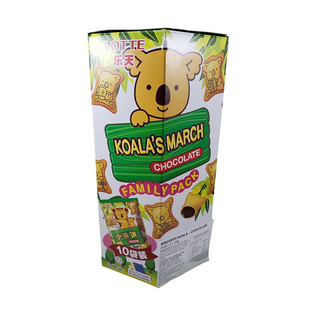 Biscoito Koala no Machi Lotte Chocolate 10 Pacotes 168g