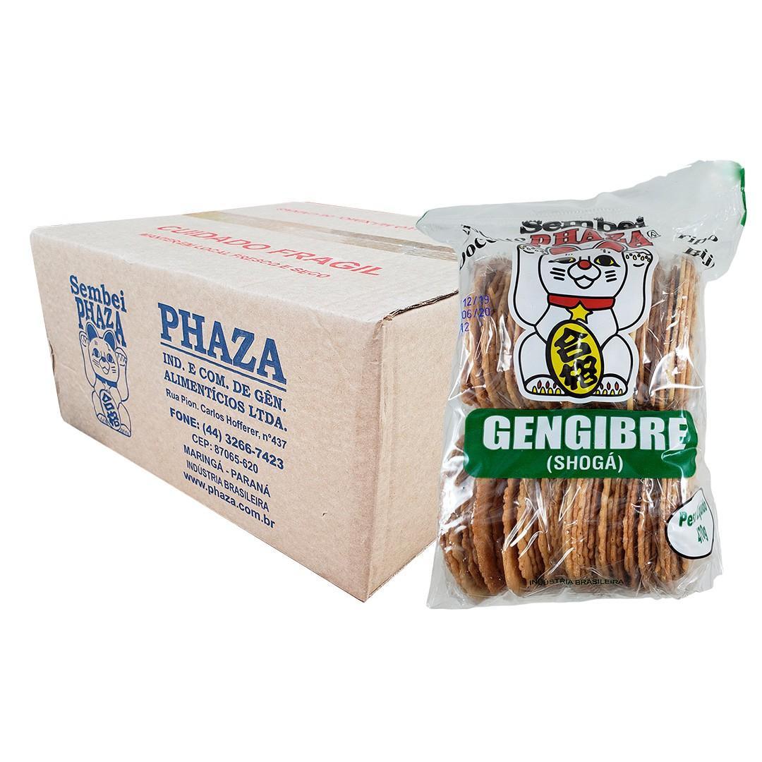 Biscoito Sembei Gengibre Phaza 470g 12 unidades