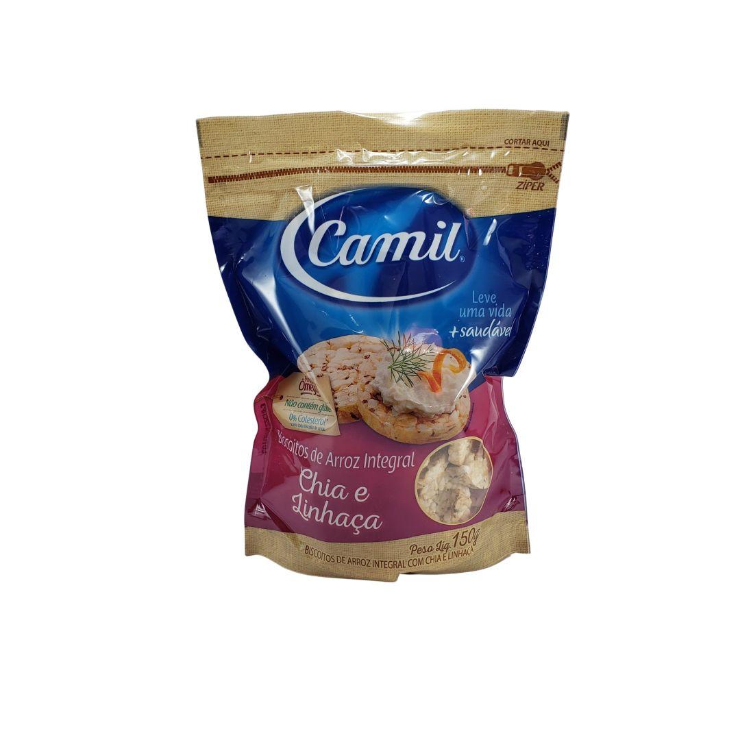 Biscoitos de Arroz Integral com Chia e Linhaça Camil 150g