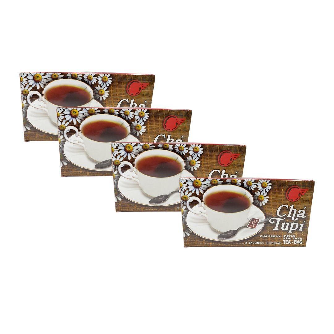 Chá Preto Tupi 25 Sachês 50g Kit 4 Unidades