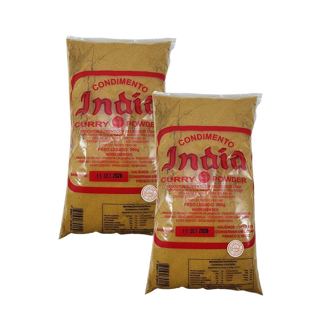 Curry India Tempero Condimento em Pó Pacote 500g Kit 2 Unidades