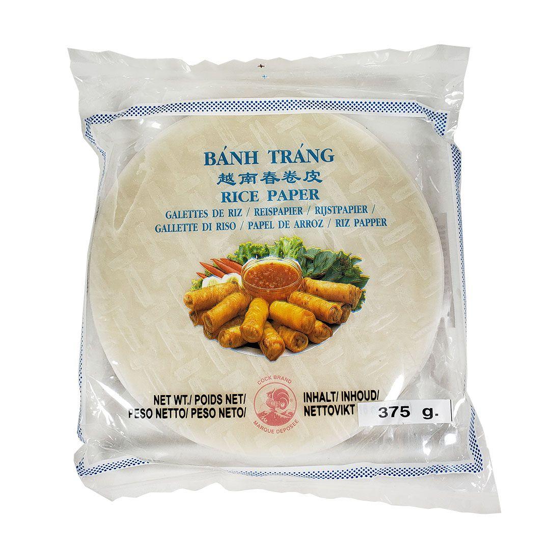 Folha Papel de Arroz Redondo 16cm Banh Trang Cock Brand 375g