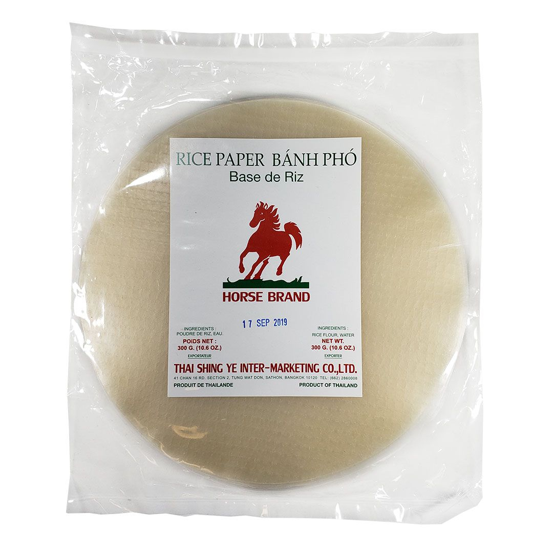 Folha Papel de Arroz Redondo 22cm Banh Pho Horse Brand 300g