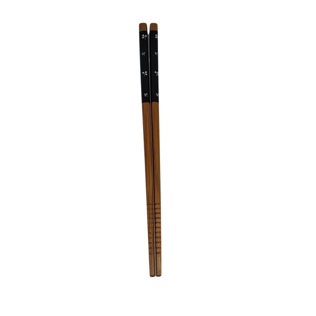 Hashi de Bambu Preto com Trevos 1 Par