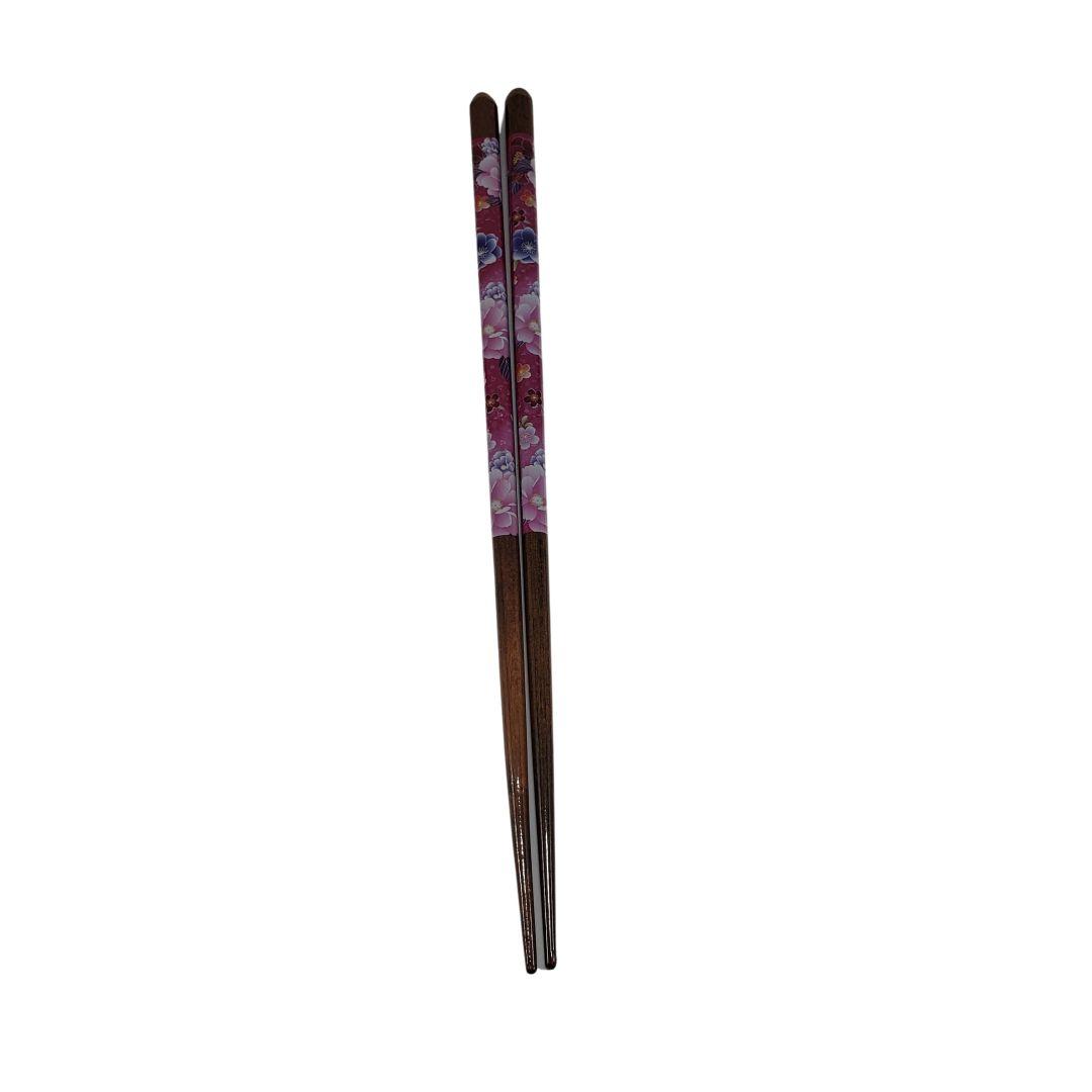 Hashi de Madeira Rosa com Flores Coloridas 1 Par