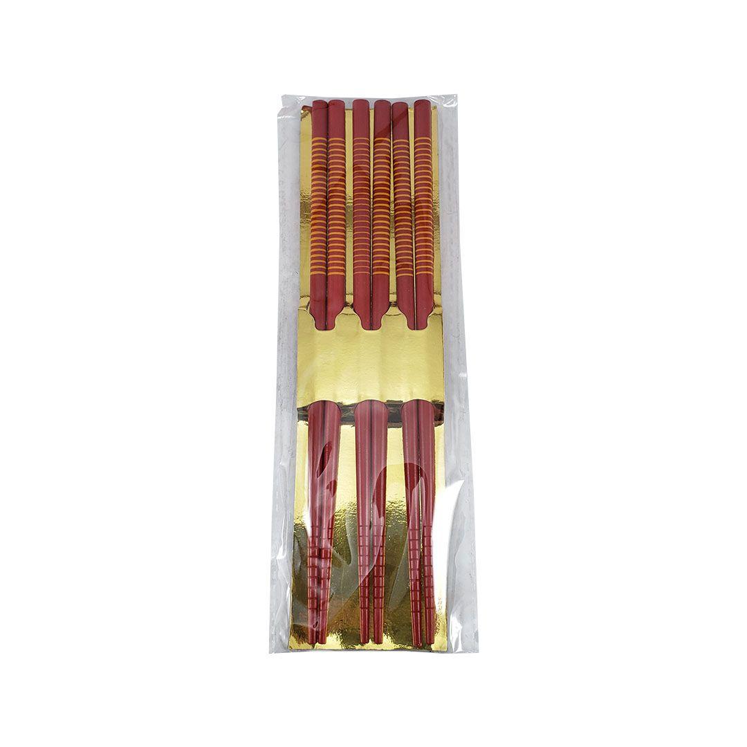 Hashi de Madeira Vermelho Listrado Shiki 3 Pares