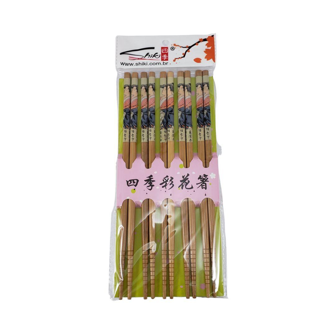Jogo de Hashi de Bambu Decorado Premium com 5 Pares Shiki
