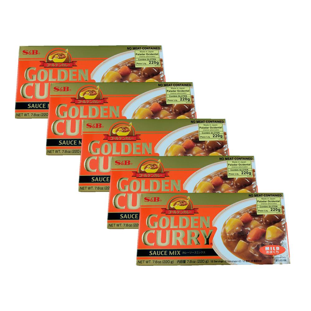 Karê Japonês Golden Curry Suave Amakuchi S&B 220g 5 Unidades