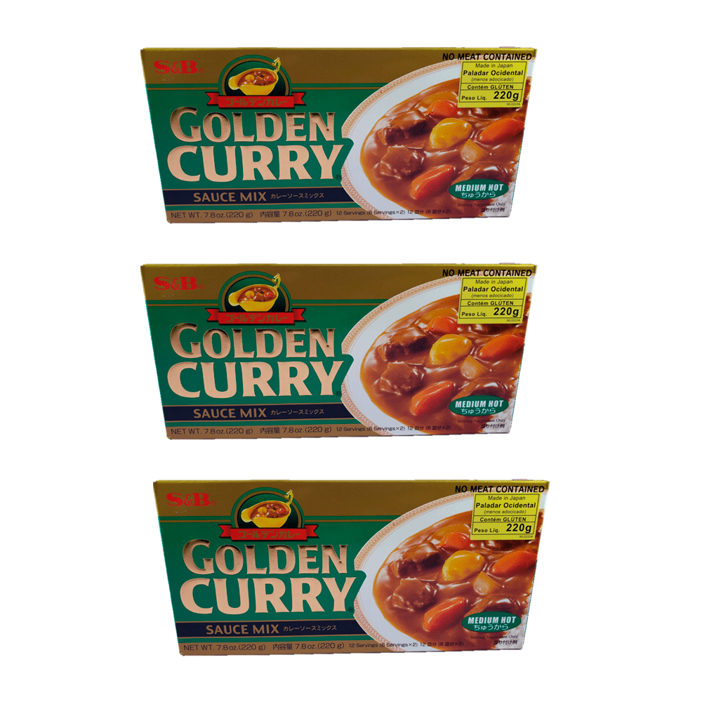 Karê Japonês Golden Curry Médio Chukara S&B 220g 3 Unidades