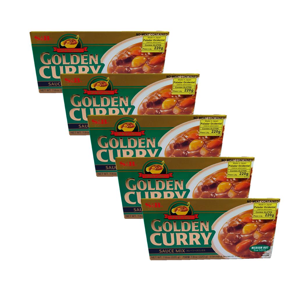 Karê Japonês Golden Curry Médio Chukara S&B 220g 5 Unidades