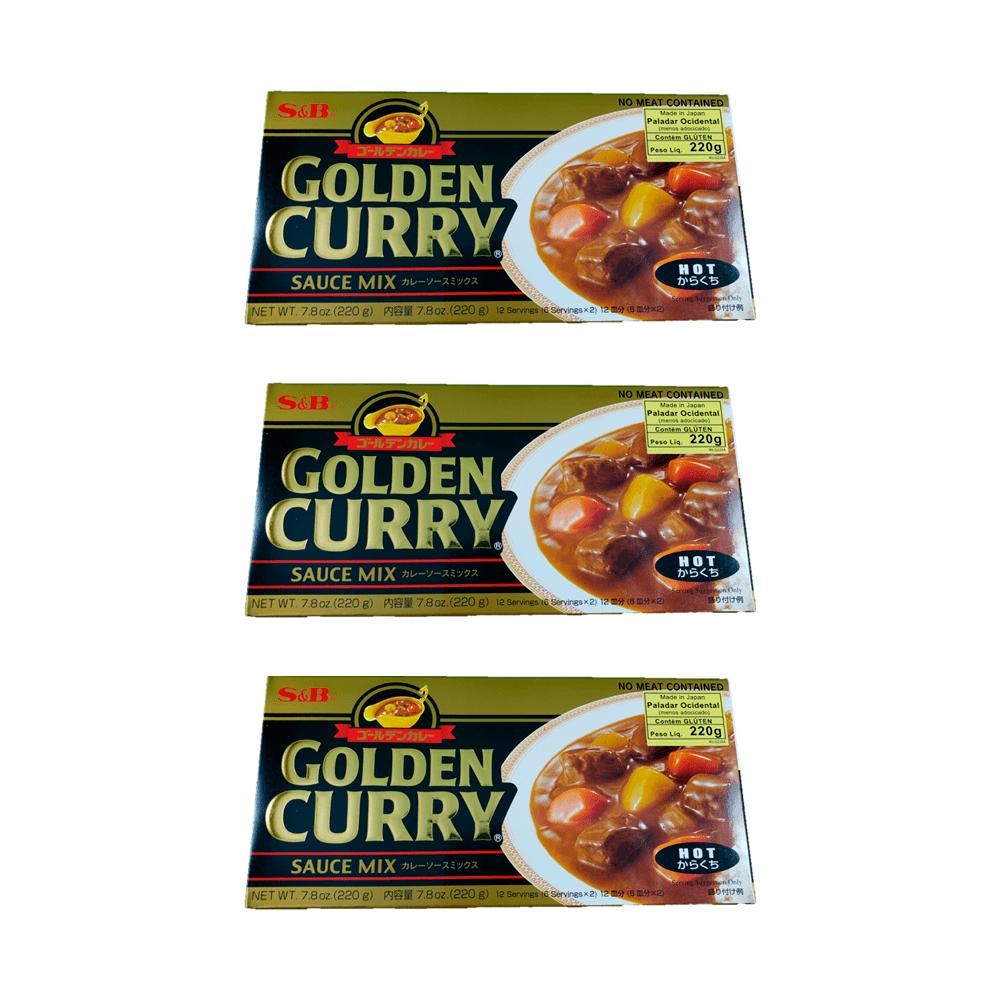 Karê Japonês Golden Curry Forte Karakuchi S&B 220g 3 Unidades