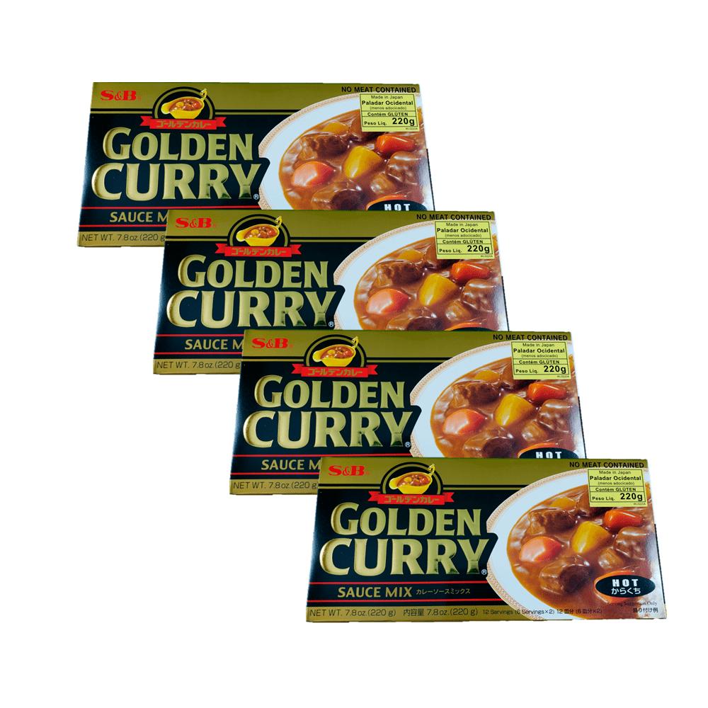 Karê Japonês Golden Curry Forte Karakuchi S&B 220g 4 Unidades