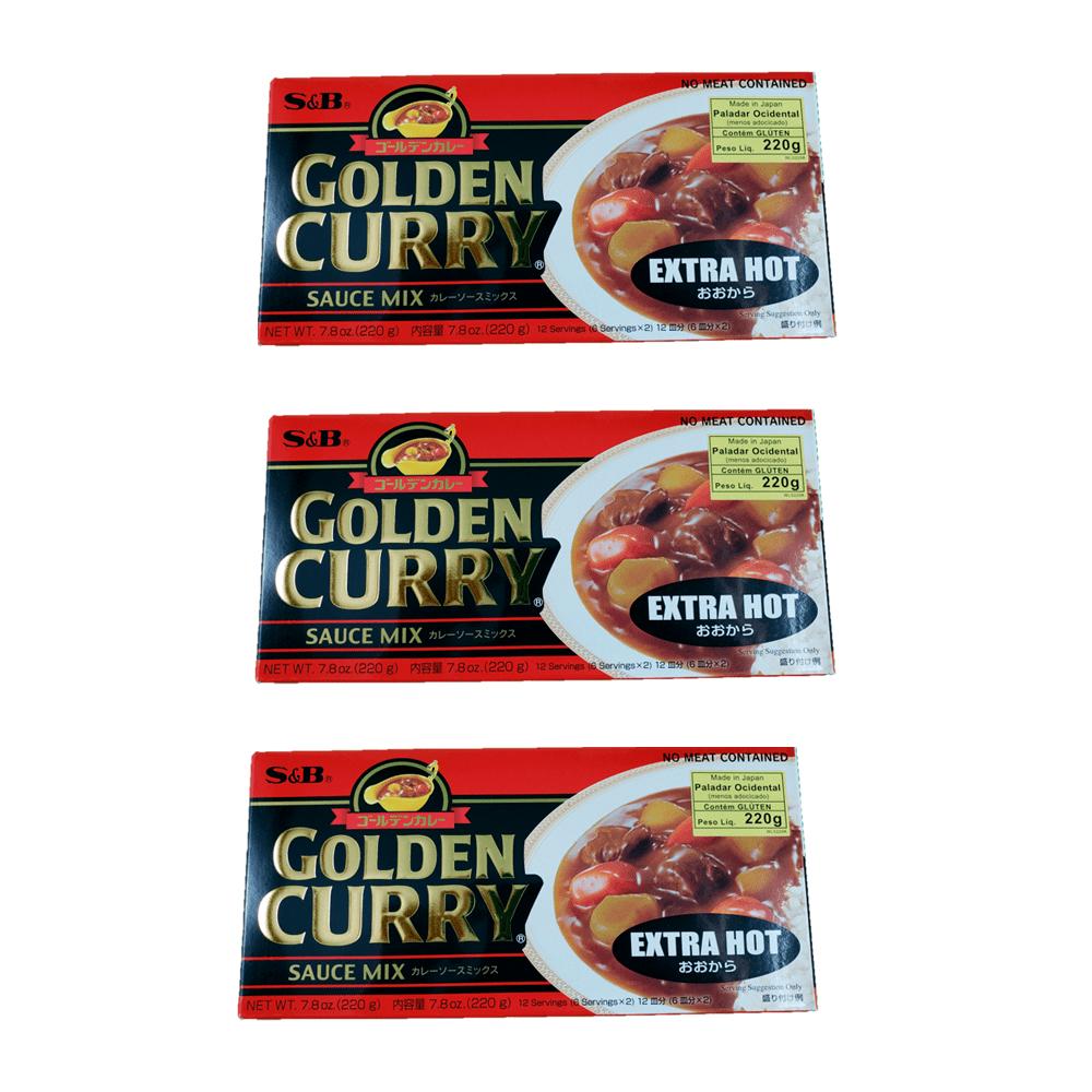 Karê Japonês Golden Curry Extra Forte Ookara S&B 220g 3 Unidades