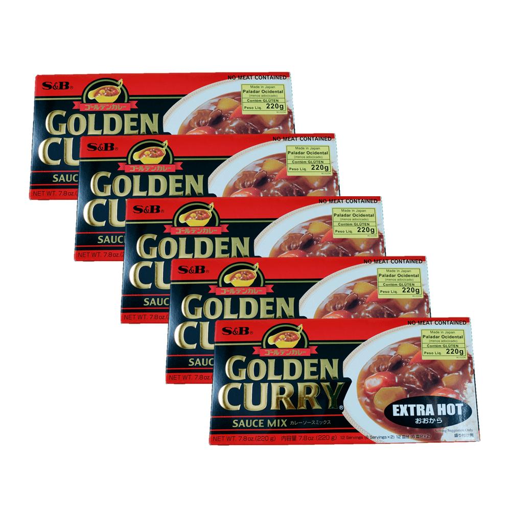 Karê Japonês Golden Curry Extra Forte Ookara S&B 220g 5 Unidades