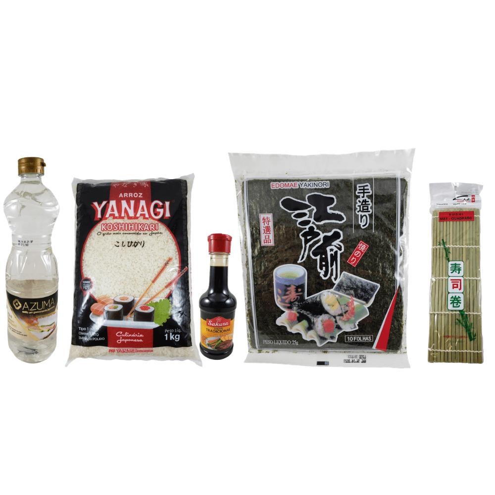 Kit para Sushi Premium - Alga Nori, Arroz, Esteira, Shoyu e Tempero