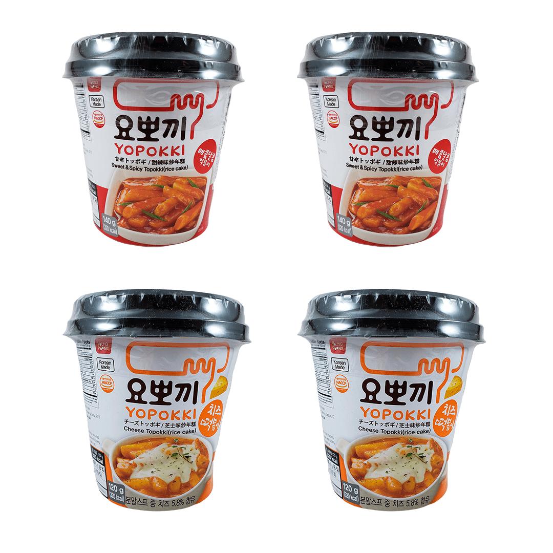Kit Topokki Bolinho de Arroz Coreano Yopokki Sweet&Spice e Queijo 2x