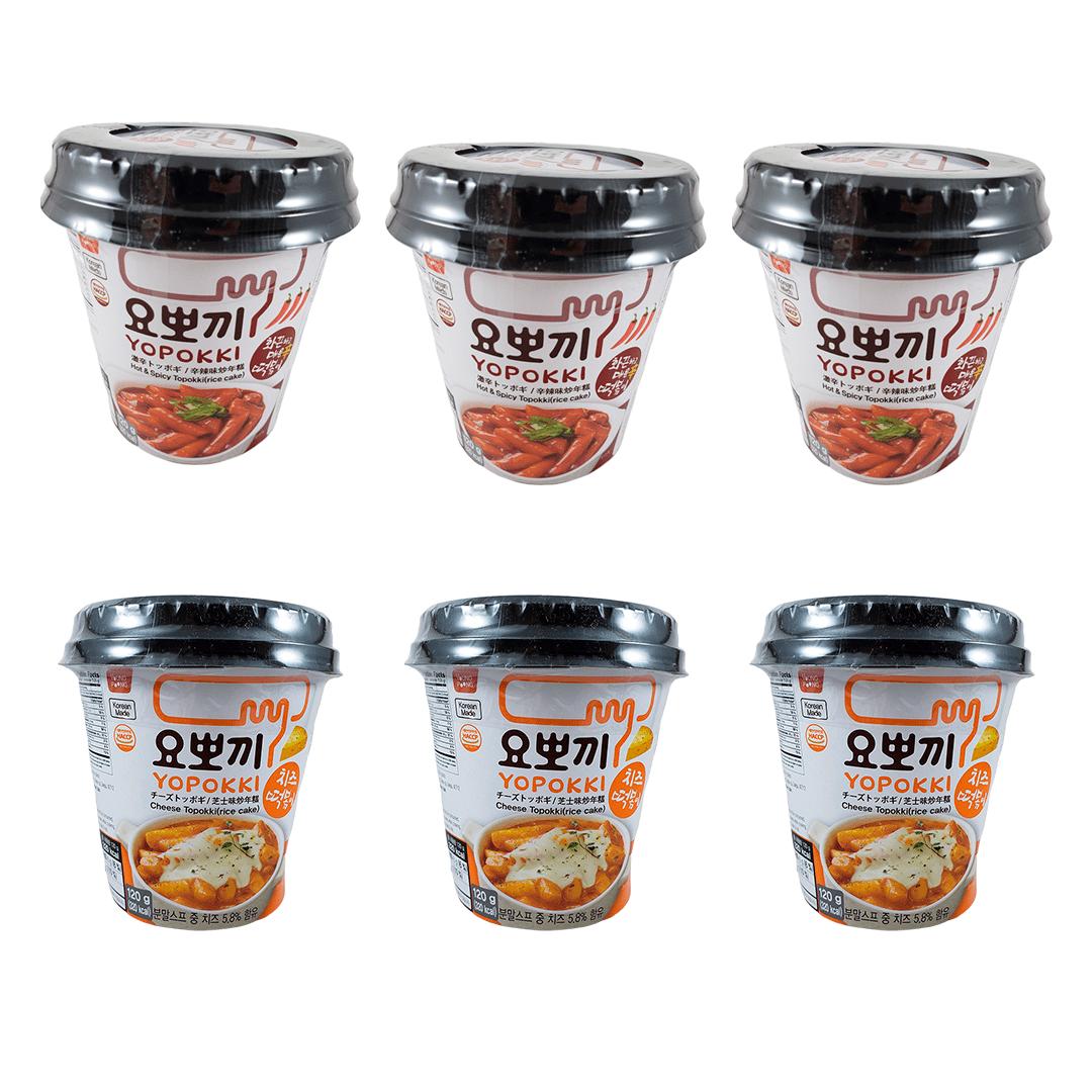 Kit Topokki Bolinho de Arroz Coreano Yopokki Hot&Spice e Queijo 3x