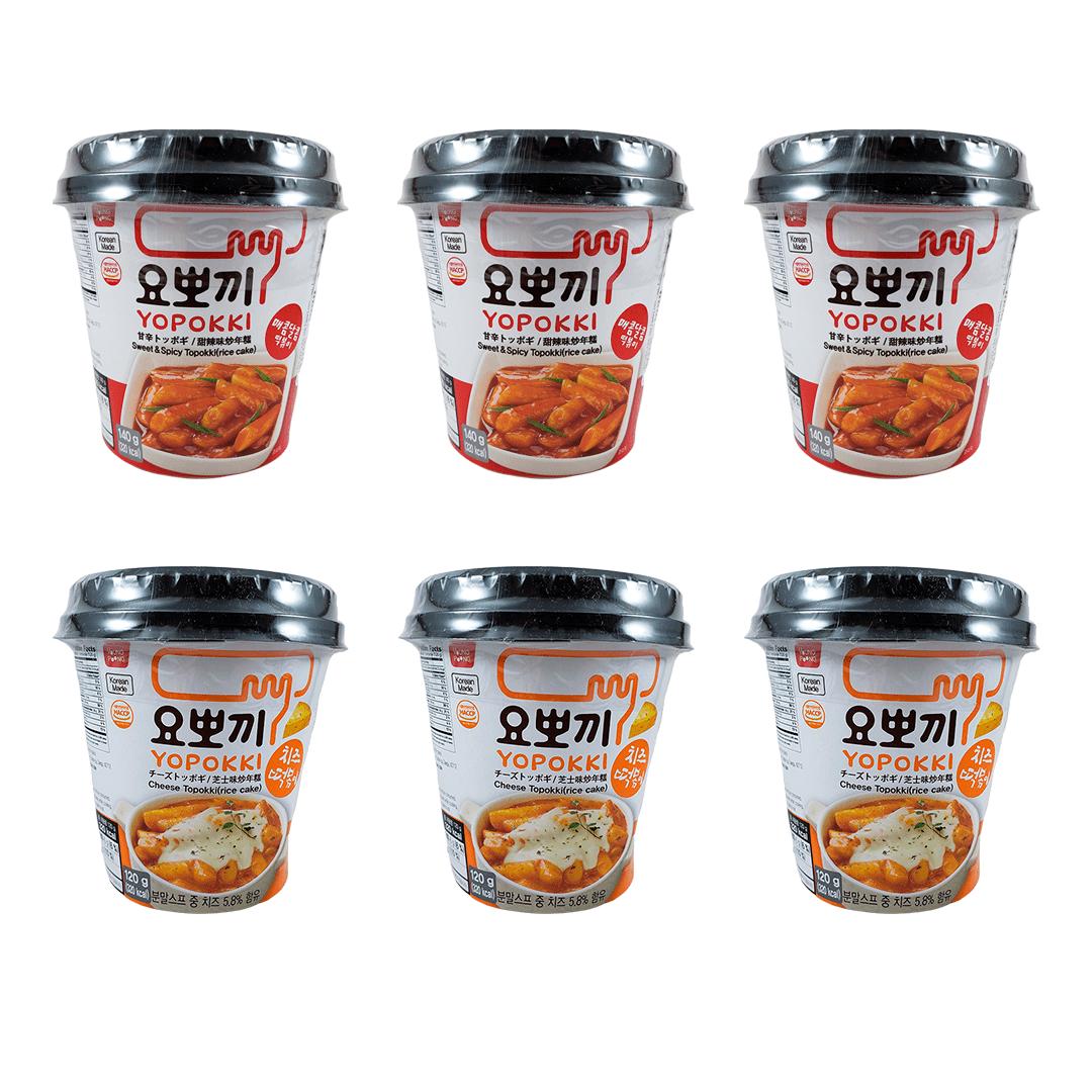 Kit Topokki Bolinho de Arroz Coreano Yopokki Sweet&Spice e Queijo 3x