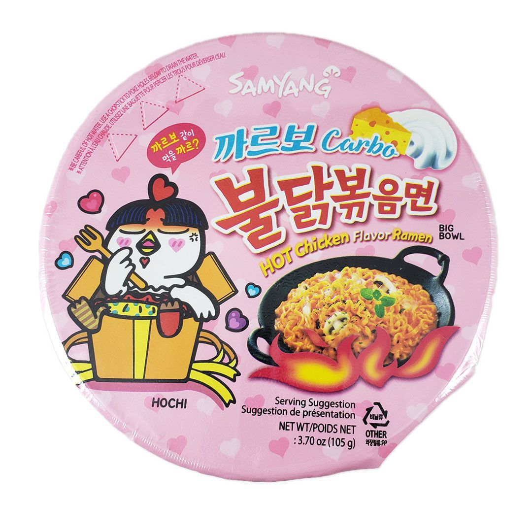 Lamen Coreano Frango Picante Cremoso Carbonara Hot Chicken Ramen Big Bowl 105g