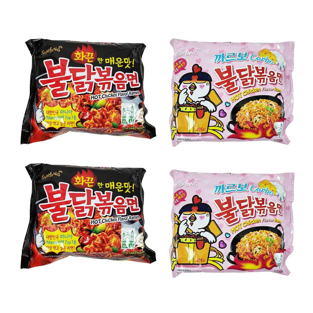 Lamen Coreano Hot Chicken Ramen e Carbonara Kit 2x