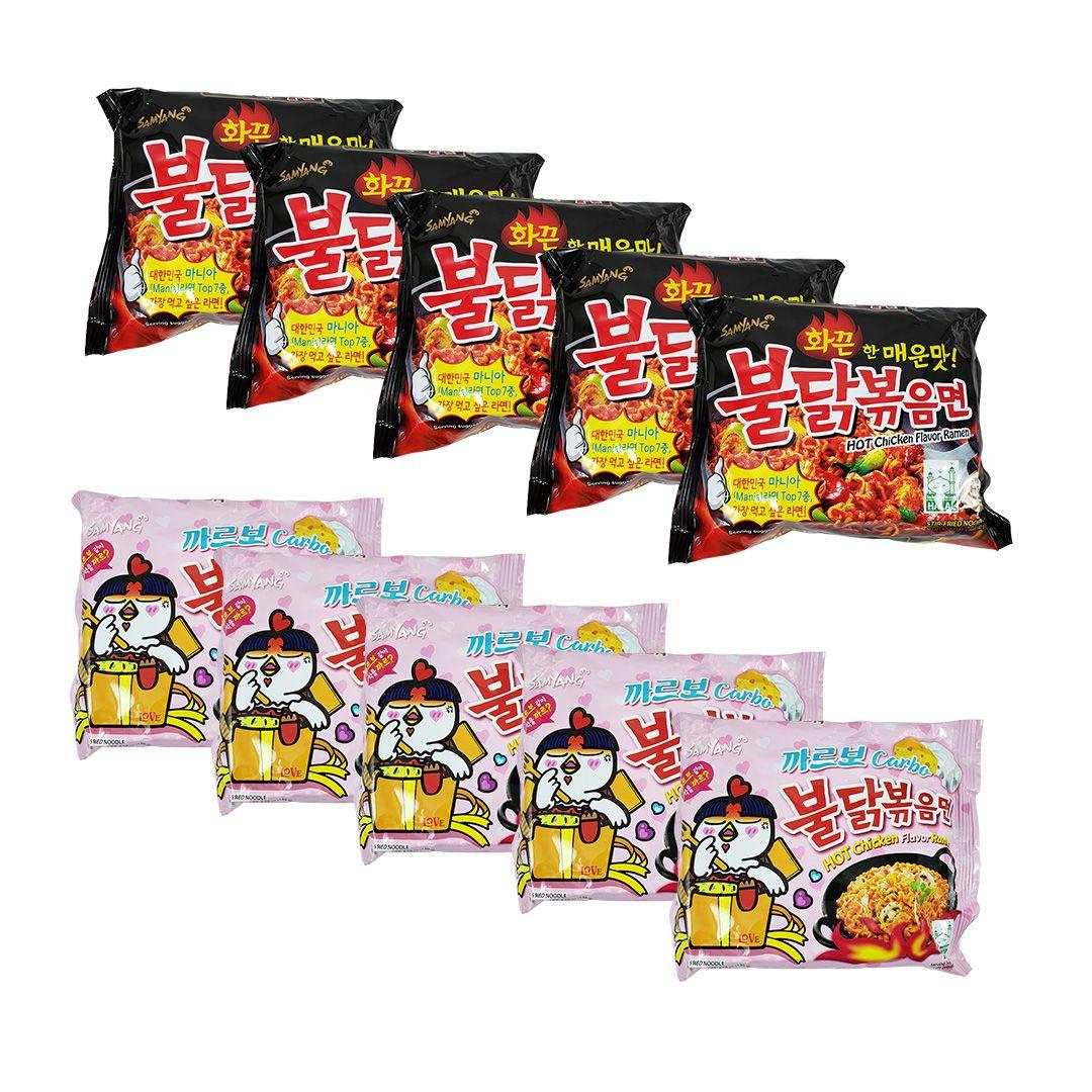 Lamen Coreano Hot Chicken Ramen e Carbonara Kit 5x