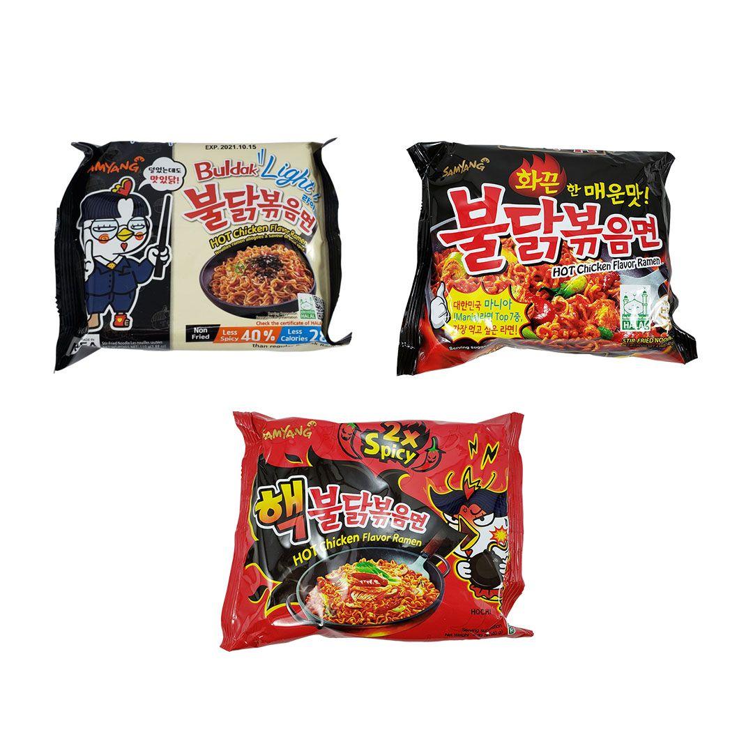 Lamen Coreano Hot Chicken Ramen Kit Light 1x e 2x Spicy