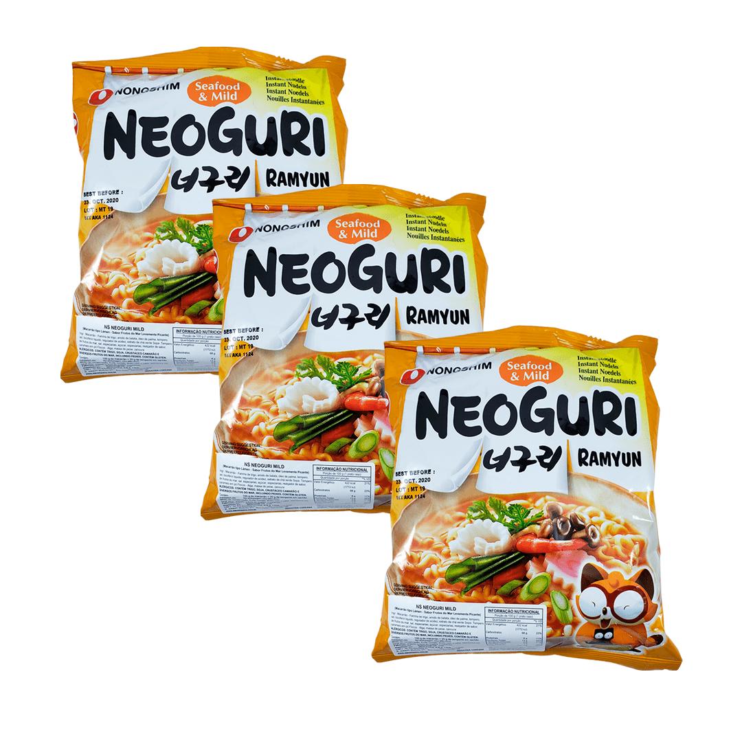 Lamen Coreano Nongshim Neoguri Suave Kit com 3