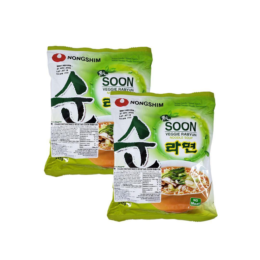 Lamen Coreano Vegetais Soon Veggie Ramyun Kit 2 unidades